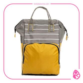 Zebra Desenli Sarı-Gri Bebek Bakım Çantası
